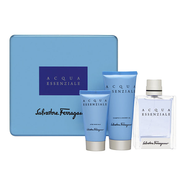 Acqua Essenziale by Salvatore Ferragamo Pour Homme 3 Piece Set Includes: 3.4 oz Eau de Toilette Spray + 3.4 oz Shower Gel + 1.7 oz After Shave Balm