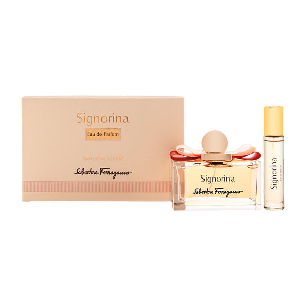 Signorina by Salvatore Ferragamo for Women 2 Piede Set Includes: 3.4 oz Eau De Parfum Spray + 0.34 oz Eau de Parfum Spray
