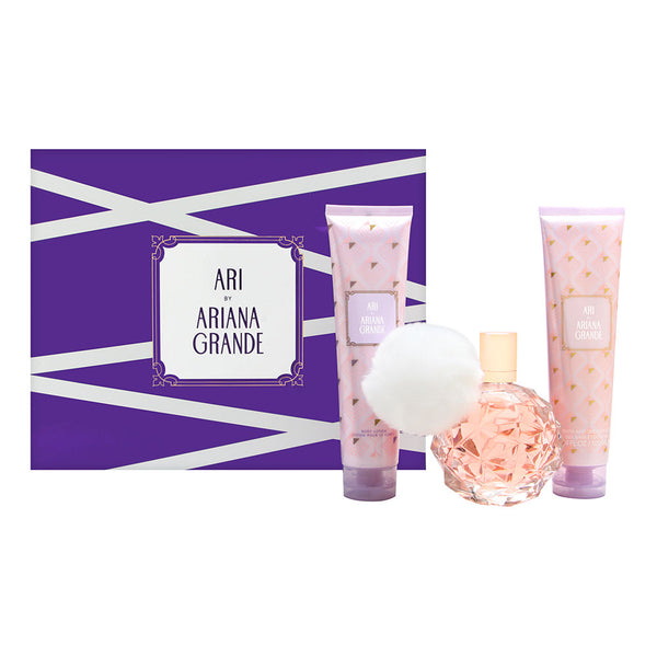 Ari by Ariana Grande for Women 3 Piece Set Includes: 3.3 oz Eau de Parfum Spray + 3.3 oz Body Lotion + 3.3 oz Body Wash