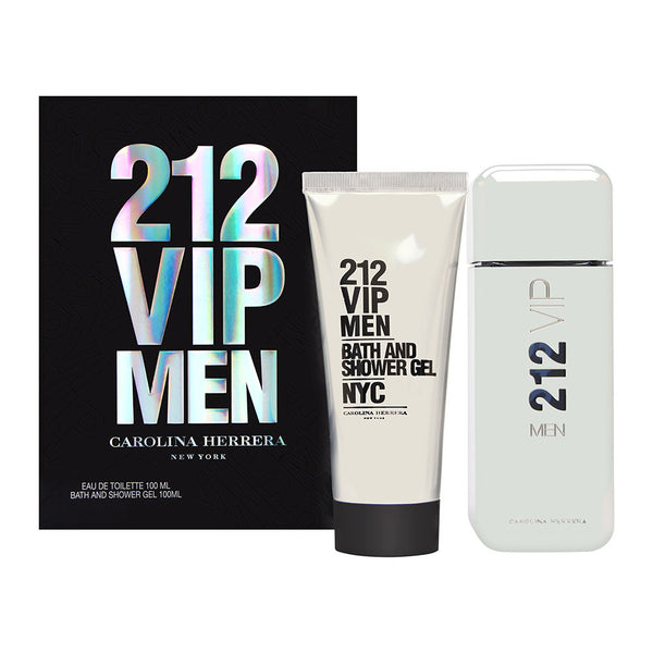 212 VIP Men by Carolina Herrera 2 Piece Set Includes: 3.4 oz Eau de Toilette Spray + 3.4 oz Bath and Shower Gel