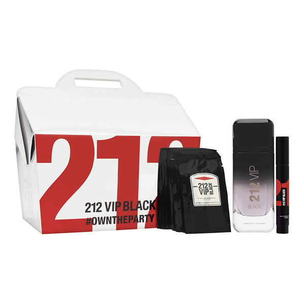 212 VIP Black by Carolina Herrera for Men 3 Piece Set Includes: 3.4 oz Eau de Parfum Spray + 0.1 oz Eau de Parfum Marker + 12 x 0.27 oz Shower Gel Sachets