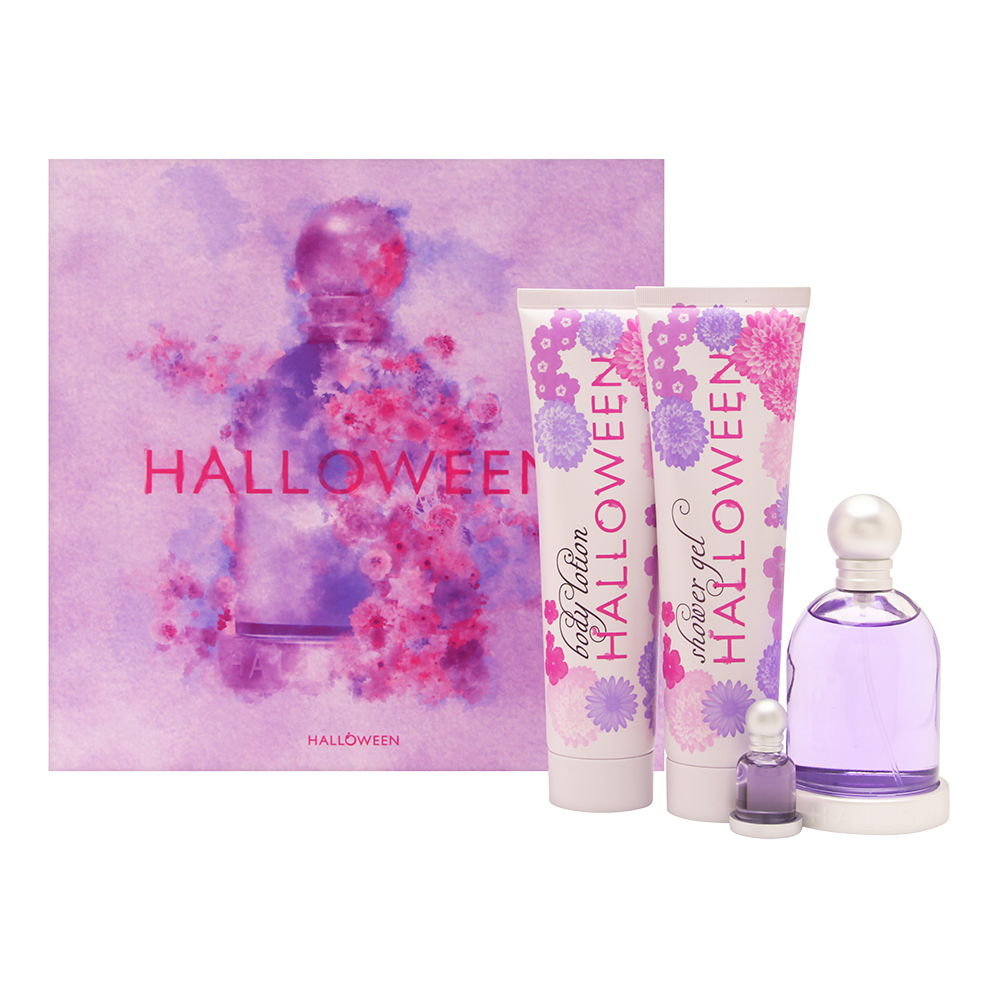 Halloween by J. Del Pozo for Women 4 Piece Set Includes: 3.4 oz Eau de Toilette Spray + 5.0 oz Halloween Fruit Lotion + 5.0 oz Halloween Bubbles Shower Gel + 0.15 oz Eau de Toilette Miniature Collectible