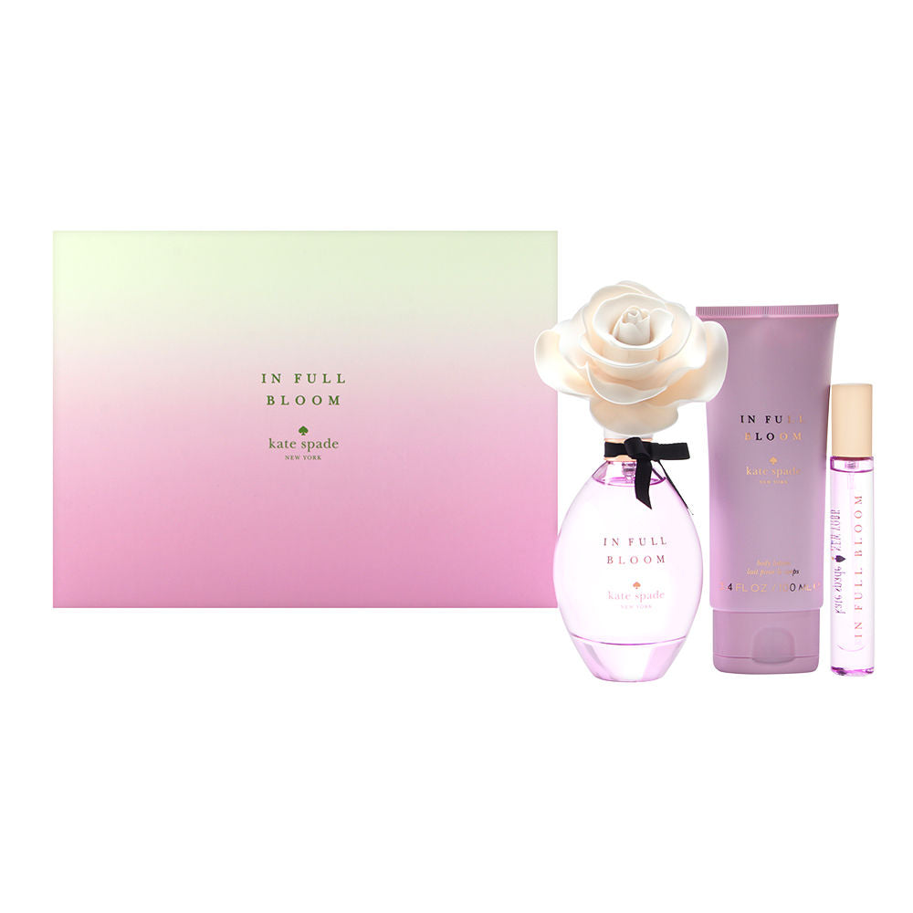 In Full Bloom by Kate Spade for Women 3 Piece Set Includes: 3.4 oz Eau de Parfum Spray + 3.4 oz Body Lotion + 0.34 oz Eau de Parfum Spray