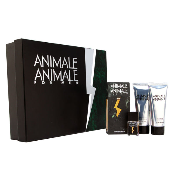 Animale Animale by Parlux for Men 4 Piece set Includes: 3.4 oz. Eau De Toilette Spray + 3.4 oz. After shave Balm + 3.4 oz. hair & Body Wash + 0.25 oz. Eau De Toilette Mini Spray