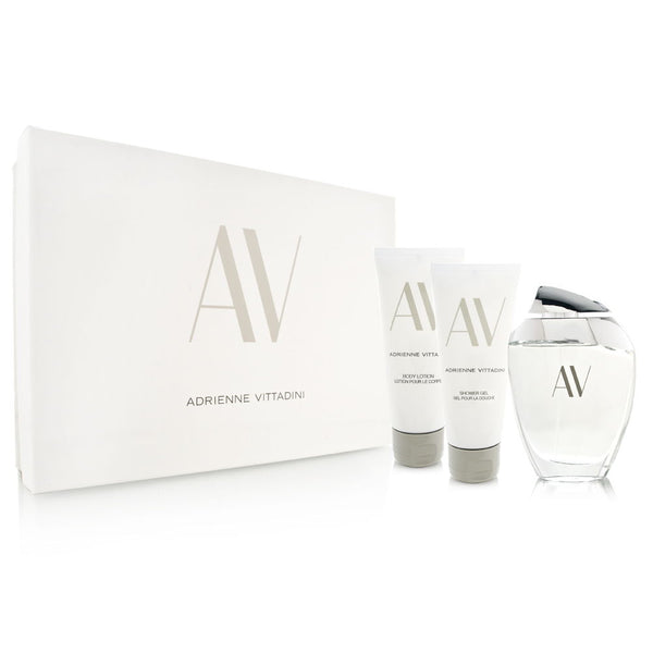 AV by Adrienne Vittadini for Women 3 Piece Set Includes: 3.0 oz Eau de Parfum Spray + 3.3 oz Body Lotion + 3.3 oz Shower Gel