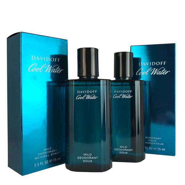 Cool Water For Men By Davidoff 2.5 oz Mild Deodorant Spray Set of Two
