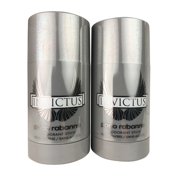 Invictus for Men Deodorant Stick by Paco Rabanne Alcohol Free 2.5 oz each TWO