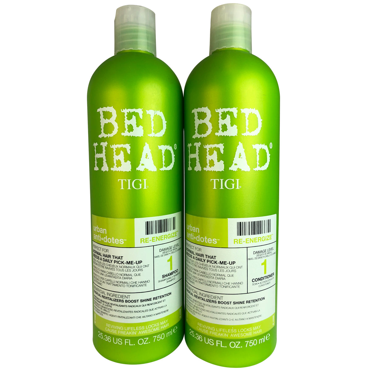 Tigi Bed Head Urban Antidotes Re-Energizing Hair Shampoo & Conditioner 25 oz ea