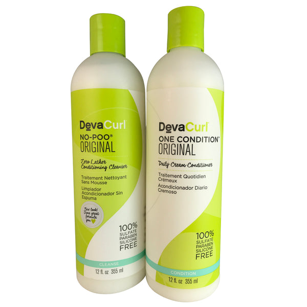 Devacurl No-Poo and One Condition Original Duo for Hair 12 oz Each
