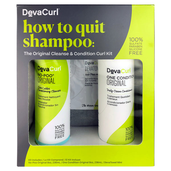 DevaCurl How to Quit Shampoo: Cleanser & Conditioner DUO 8 oz ea & Mini Towel