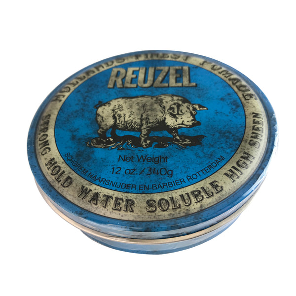 Reuzel Hollands Finest Hair Pomade Strong Hold Water Soluble + Sheen/Blue 12 oz