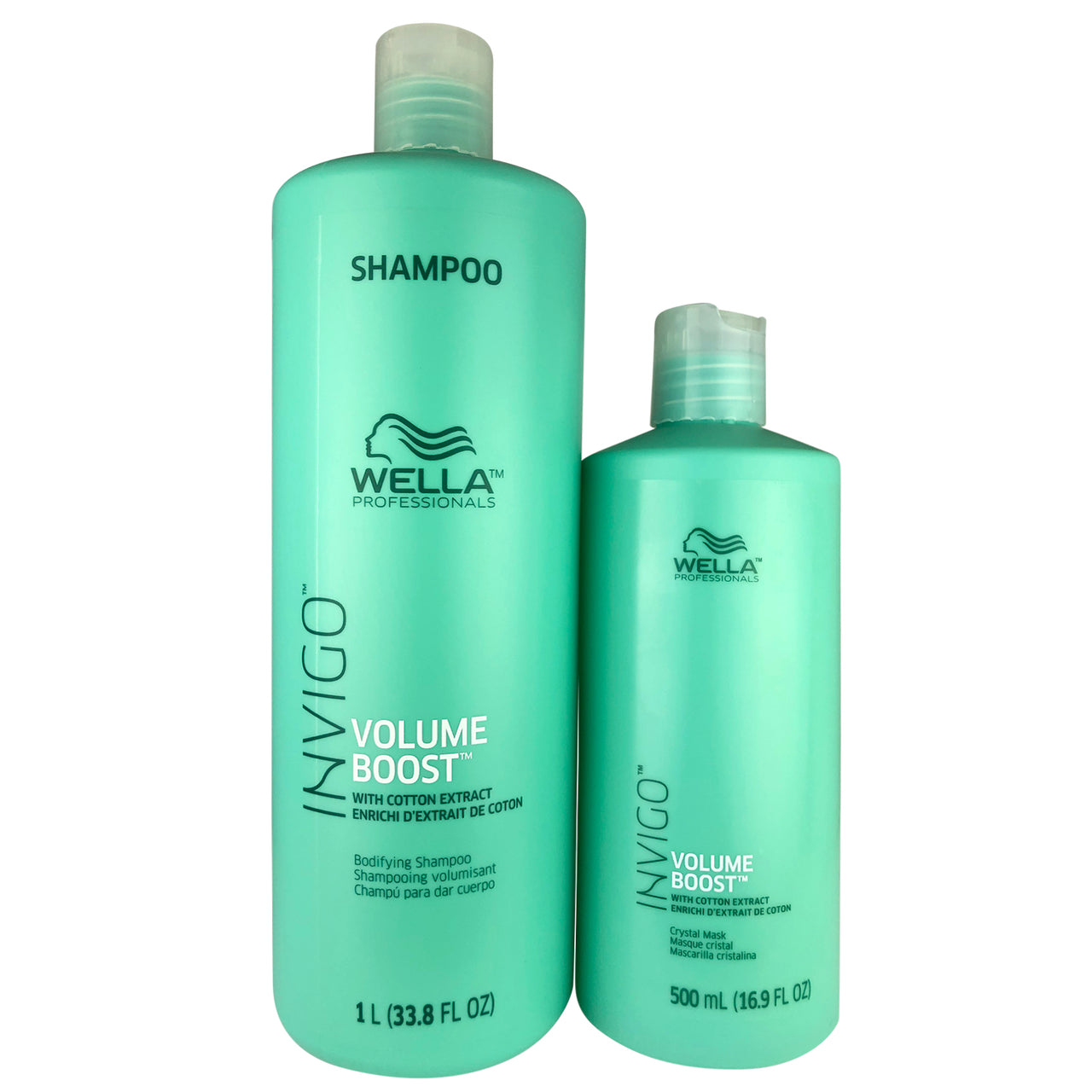 WELLA Invigo Hair Volume Boost Bodifying Shampoo 33.8 oz & Conditioner 16.9 oz Duo with Cotton Extract