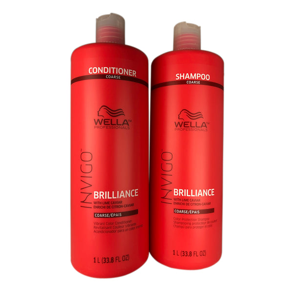 Wella Brilliance Shampoo and Conditioner Duo 33.8 oz Each For Coarse Hair