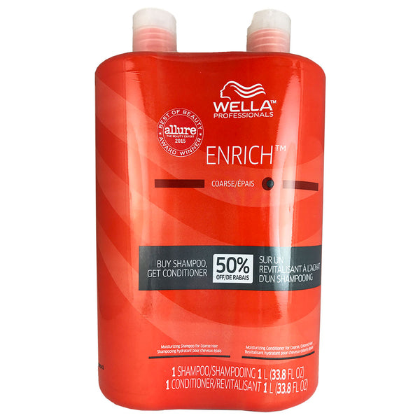 Wella Enrich Shampoo and Conditioner Duo 33.8 oz Each For Coarse Hair