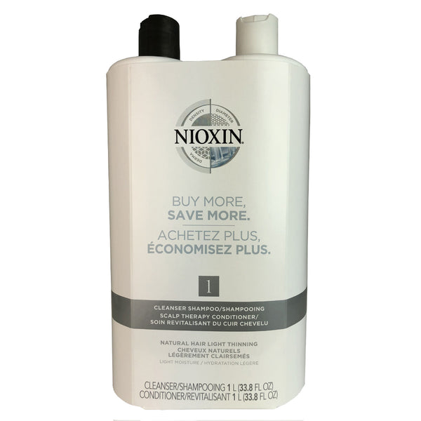 Nioxin System 1 Cleanser And Scalp Hair Therapy Duo 33.8 oz Each