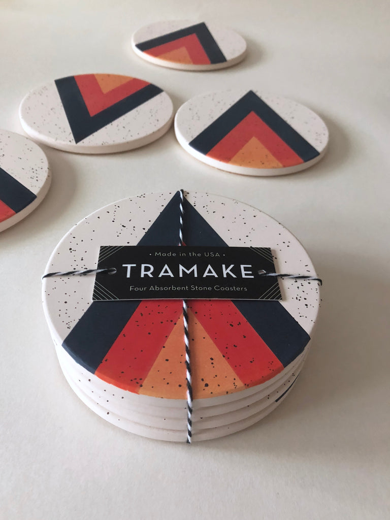 Tramake - ARROW Ceramic Coasters - 4 piece set