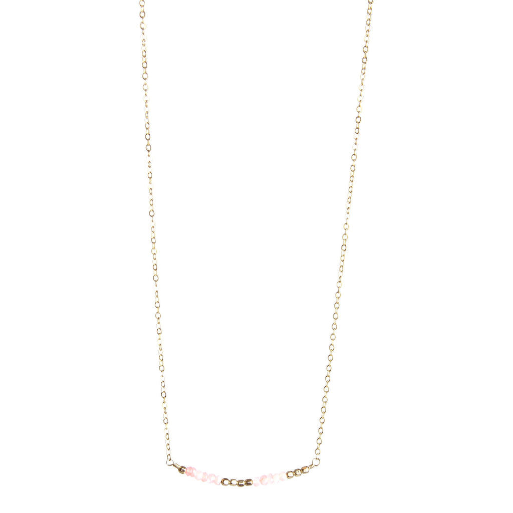 Sunday Girl Studio - I Love You Gemstone Necklace Rose Quartz