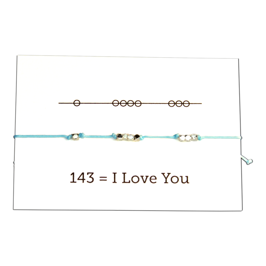 Sunday Girl Studio - Love You 143 Cord Bracelet - Aqua