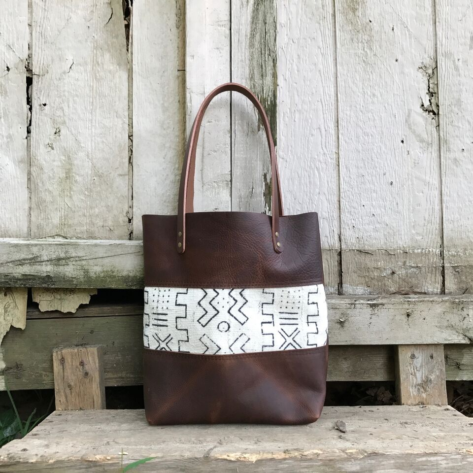 Mudcloth Panel Tote- B+ W Tall