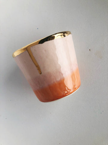Ceramic Tumbler in Desert with 22K Gold