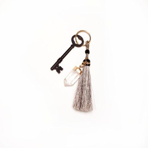 Black + Jane - 24K Gold Plated Quartz Crystal Horsehair Keychain