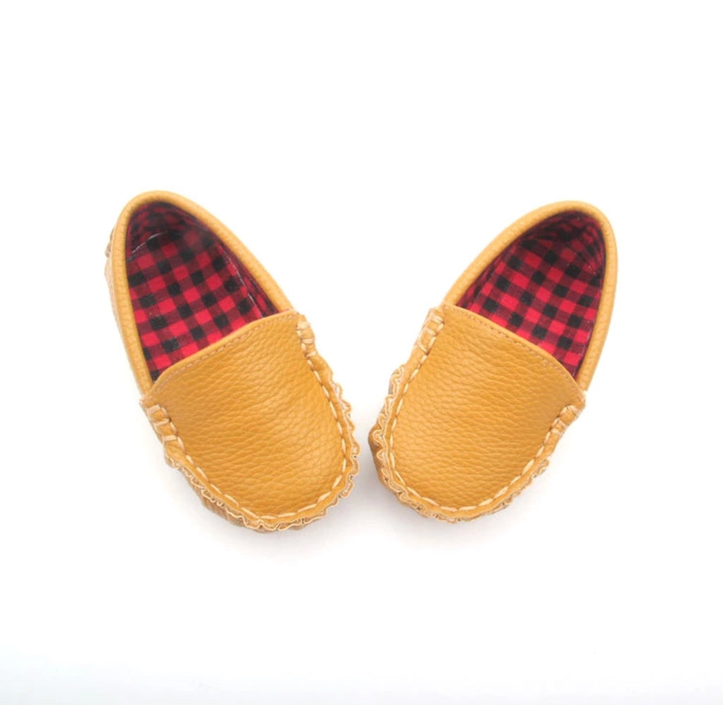 SoJo Moccs - Loafers - Vinny - Tan Leather Baby Moccasin with Plaid