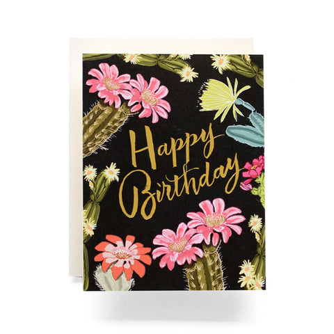 Antiquaria - Cactus Blooms Birthday Greeting Card