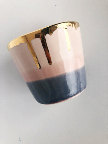 Ceramic Tumbler in Sunset, with 22K Gold