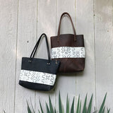Hawks & Doves - Mudcloth Panel Tote - B+W Short
