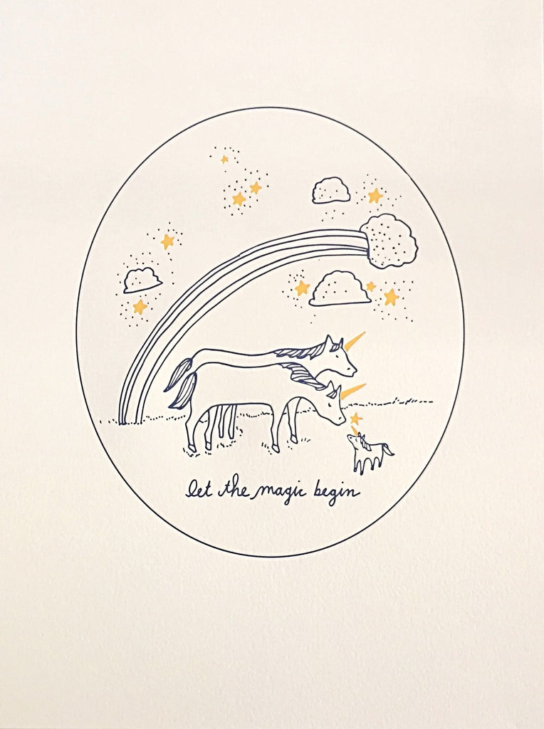 Wolf & Wren Press - New Baby Unicorn Print