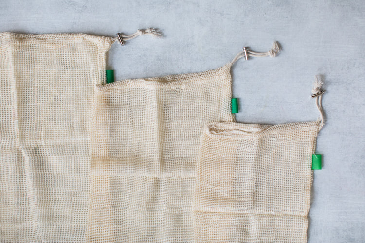 Cotton Mesh Produce Bags, set of three