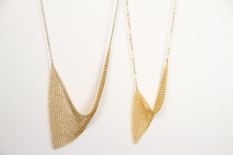 Asymmetrical Gold Mesh Chain
