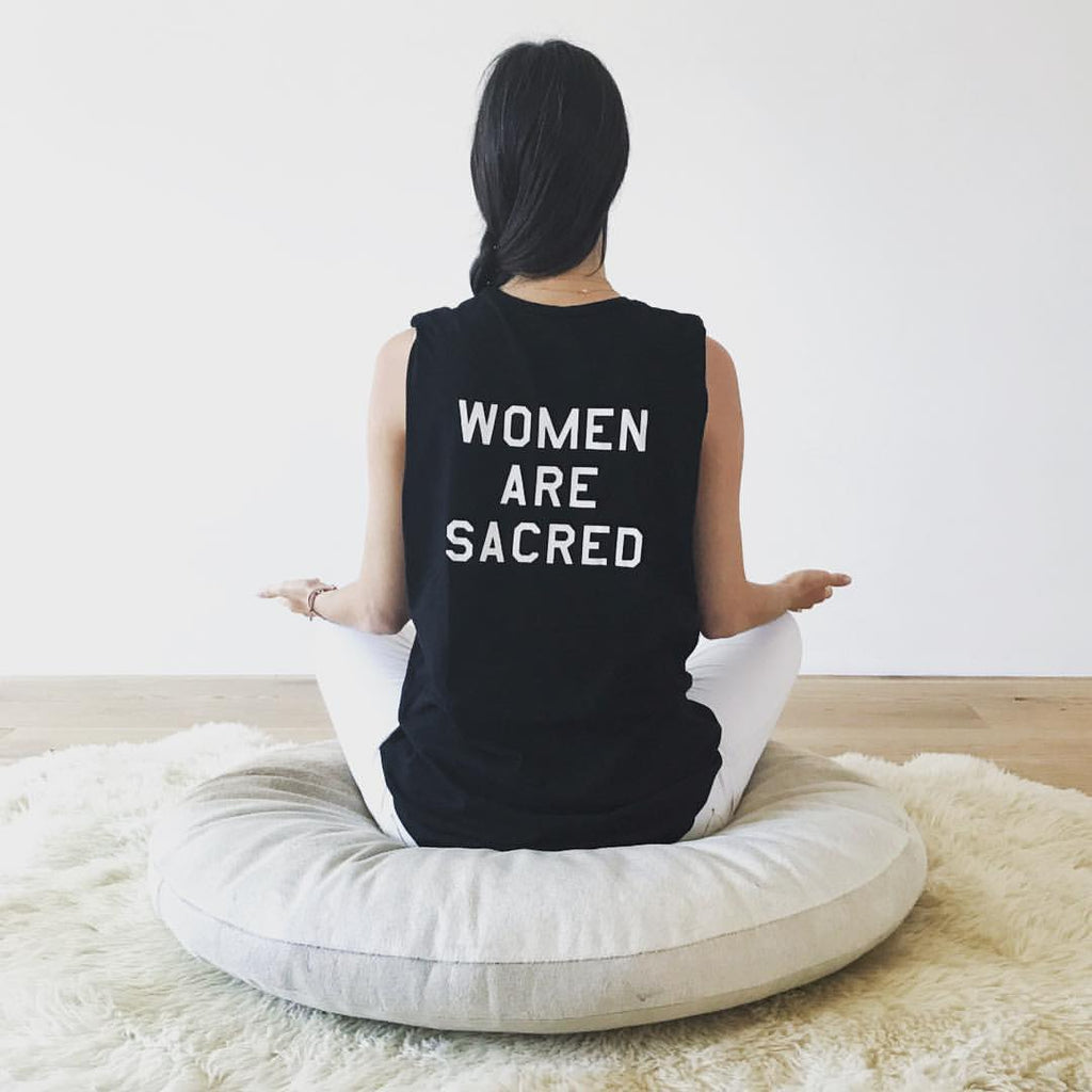 Women Are Sacred black muscle tee