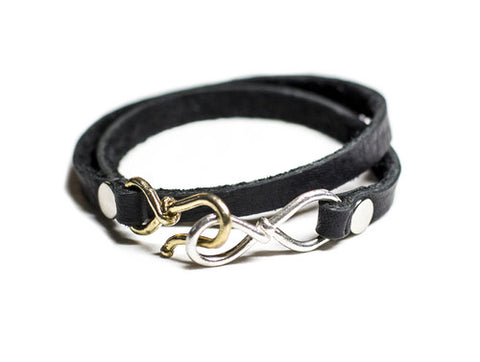 Love Infinity Leather Bracelet Black