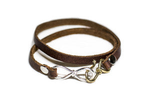 Love Infinity Leather Bracelet Brown