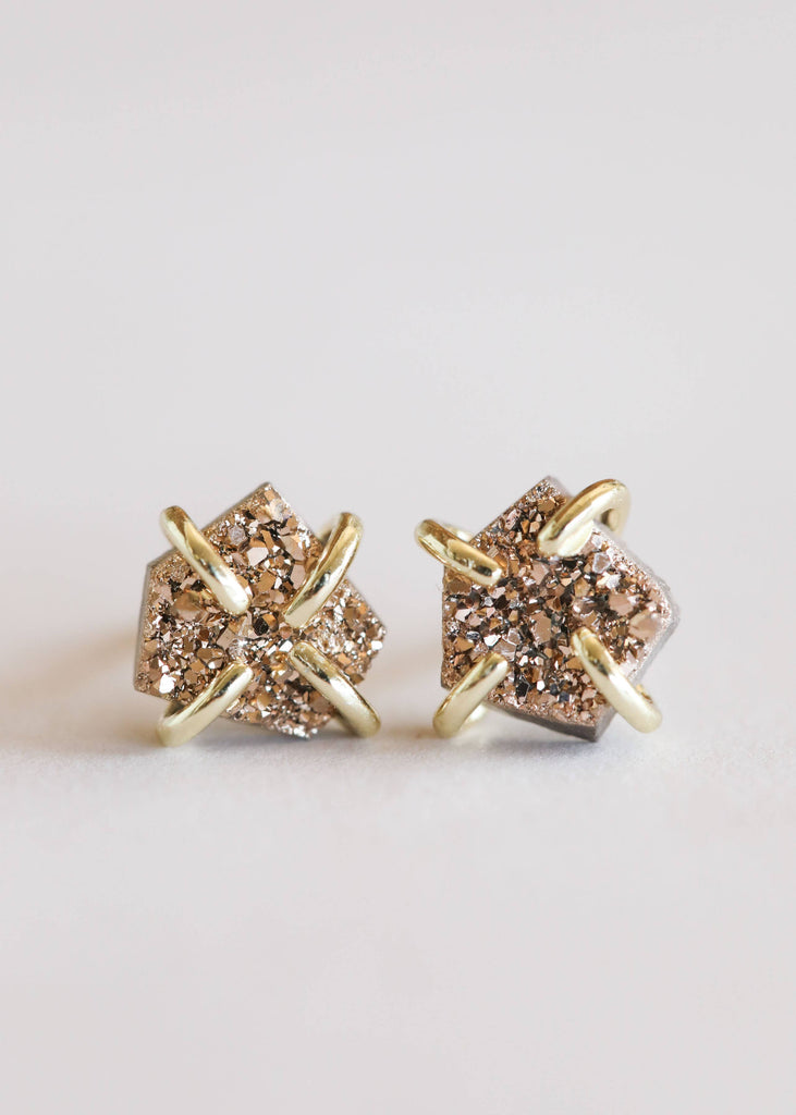 JaxKelly - Rose Gold Druzy Prong Earrings