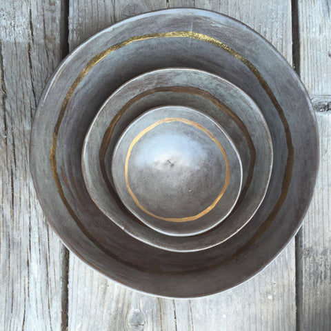 Minimalist Wedding Bowls Gold Accent
