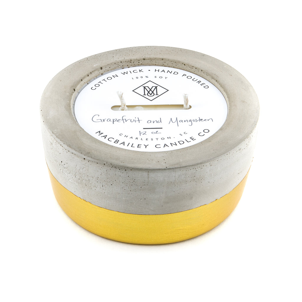 MacBailey Candle Company - Concrete Candle 12oz - Gold Dipped