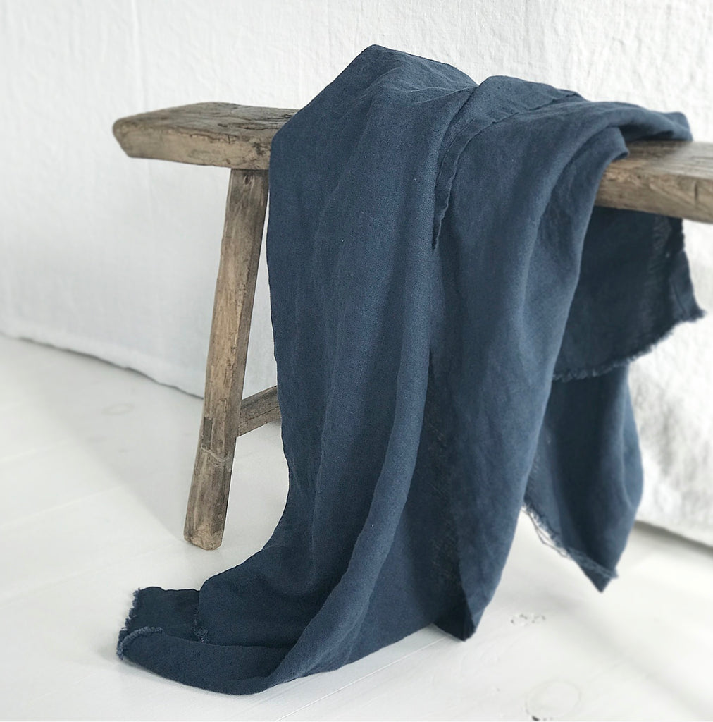 Madly Wish - Cobalt Linen Throw Blanket