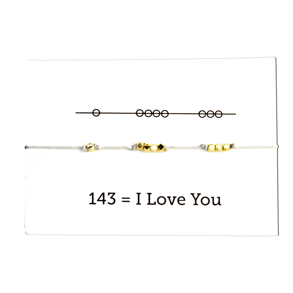 Sunday Girl Studio - I Love You 143 Cord Bracelet - Grey