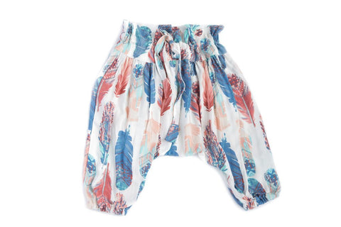 Feather Print Harem Pants