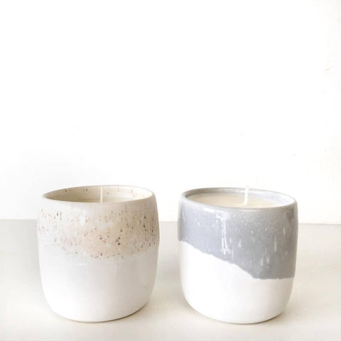 Grey and white tumblers