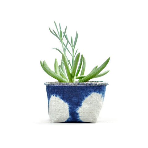 "Gray Green Goods - Shibori Indigo Planter—4"" More Blue"