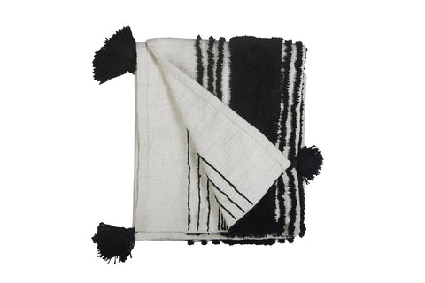 Casa Amarosa - Tufted Slub Throw, Black & White- 50X60 Inches