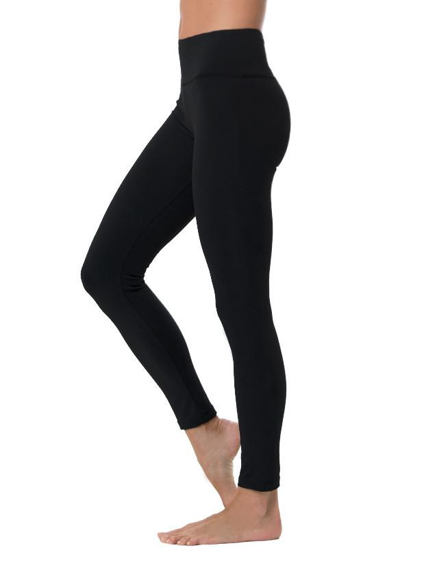 Lily Lotus - Black Long Leggings - Solid