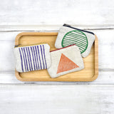 Gray Green Goods - Purple Stripes Blockprint Linen Coin Purse