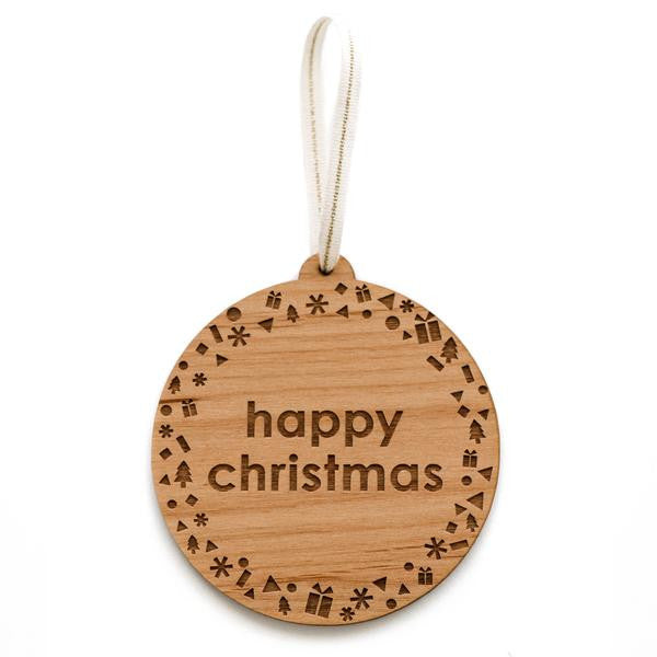 Wooden Ornament Happy Christmas