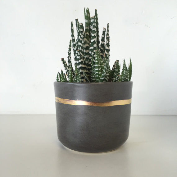 Grey Tumblers with 22K Accent/Planter