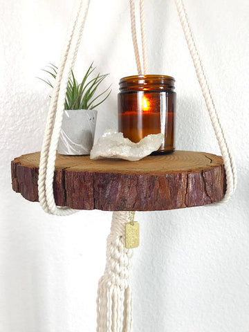 Macrame Plant Hanger with Shelf