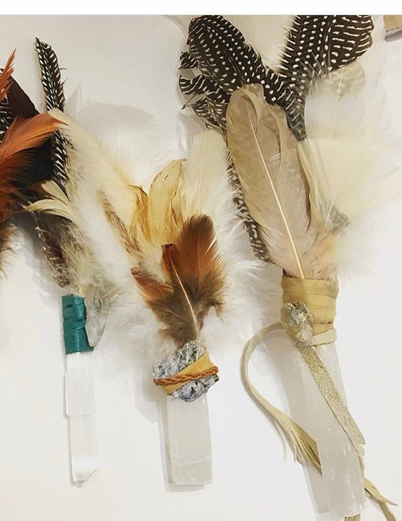 Feather smudge wands